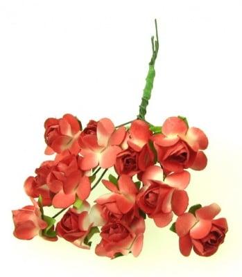 Роза букет хартия и тел 18x70 мм бяло и червено -12 броя
