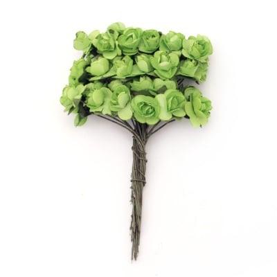 Роза букет хартия и тел 15 мм. зелено -12 броя