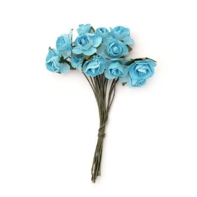 Роза букет хартия и тел 15 мм. синьо -12 броя