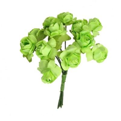 Роза букет хартия и тел 15 мм зелено светло -12 броя