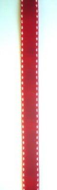 Лента кадифе 10мм червенa с бели кантове -10 метра
