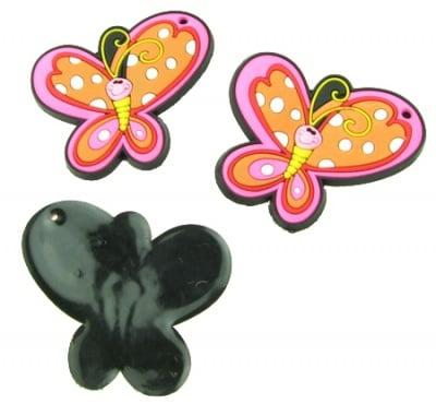 Фигурка гумена 45x50x3 мм пеперуда - 5 броя