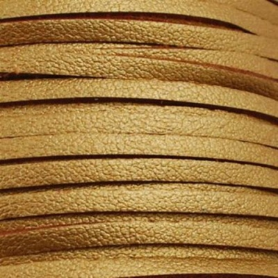 Лента кожа естествена плоска 3 мм злато -5 метра