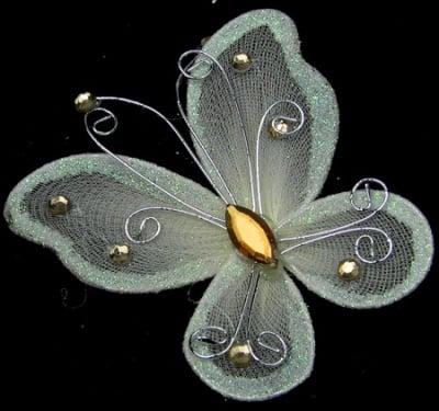 Пеперуда 70х60 мм с брокат кремава
