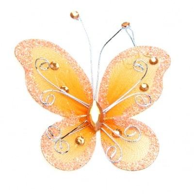 Пеперуда 70х60 мм с брокат оранжева