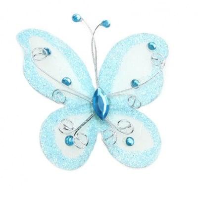 Пеперуда 70х60 мм с брокат синя светло