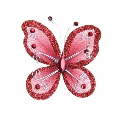 Пеперуда 70х60 мм с брокат червена тъмна