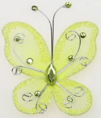 Пеперуда 70х60 мм с брокат жълта светло