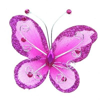 Пеперуда 70х60 мм с брокат циклама