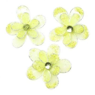 Цвете 35 мм двойно с брокат жълто светло