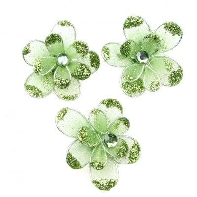Цвете 35 мм двойно с брокат зелено