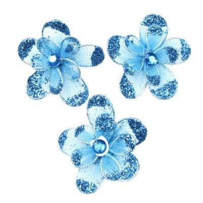 Цвете 35 мм двойно с брокат синьо