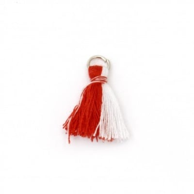 Пискюл текстил 20 мм цвят бял и червен с халка -10 броя