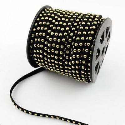 Лента велур 6x2.5 мм с алуминиеви кабошони черна -1 метър