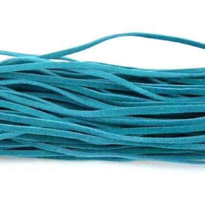 Лента велур 3x1 мм цвят TEAL -10 броя x 1 метър