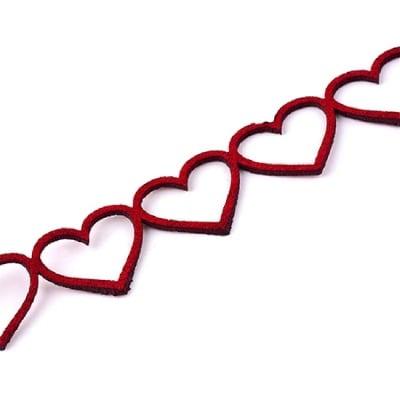 Лента велур сърца 18x1.5 мм червен - 95 см
