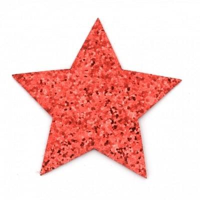 Звезда филц с кожа и брокат 80x65 мм цвят червен -2 броя