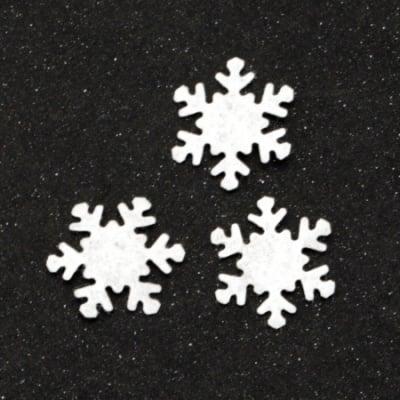 Снежинка текстил 17 мм цвят бял -50 броя