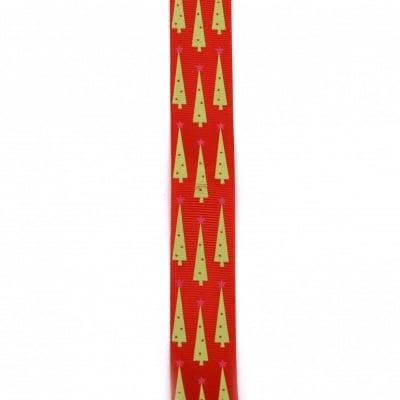 Ширит сатен 25 мм рипс червен коледни елхи -2 метра
