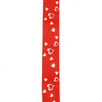 Ширит сатен 25 мм рипс червен сърца -2 метра