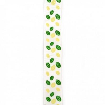 Ширит сатен 25 мм рипс бял листа -2 метра