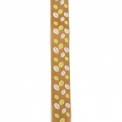 Ширит сатен 25 мм рипс кафяв светло листа -2 метра
