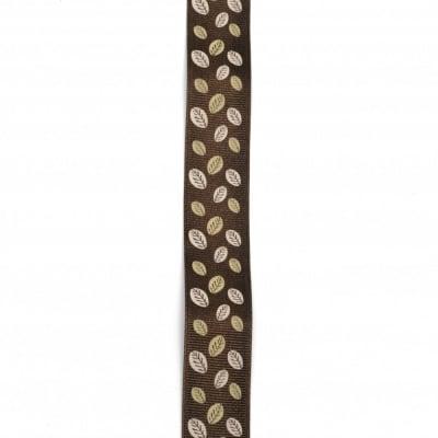 Ширит сатен 25 мм рипс кафяв листа -2 метра