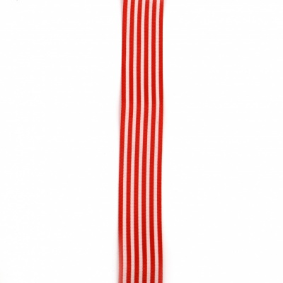 Ширит сатен 25 мм рипс червен райе -2 метра