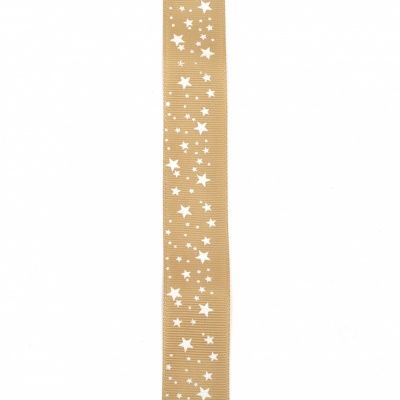 Ширит сатен 25 мм рипс кафяво светло звездички -2 метра