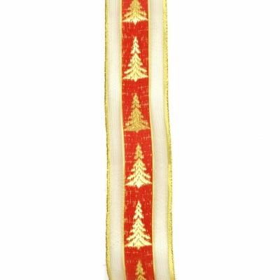 Ширит органза и сатен 40 мм червен с ламе злато елха -2 метра