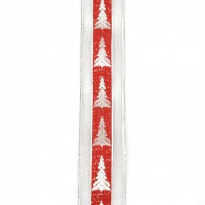 Ширит органза и сатен 40 мм червен с ламе сребро елха -2 метра