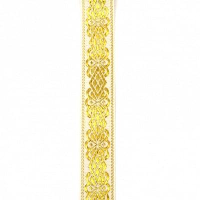 Ширит текстил 28 мм бежов с ламе злато орнамент -2 метра