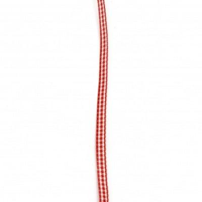 Ширит текстил 6 мм каре червено и бяло -10 метра