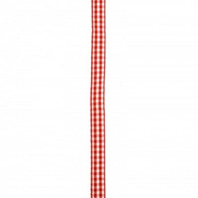 Ширит текстил 10 мм каре червено и бяло -10 метра