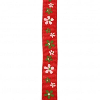 Лента сатен 20 мм рипс червена щампа цветя -2 метра