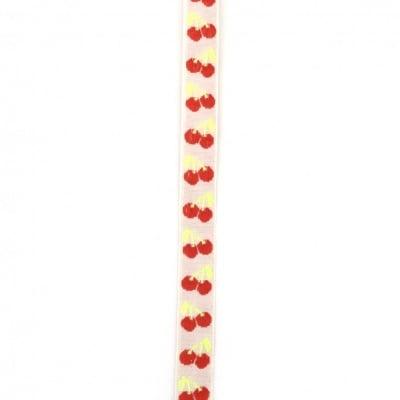 Лента текстил 12 мм бяла черешки -5 метра