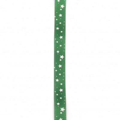 Ширит сатен 15 мм рипс зелен звездички -2 метра