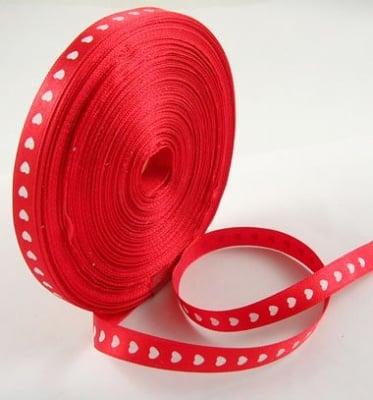 Ширит сатен сърца 10 мм червен -5 метра