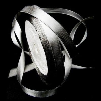 Ширит Сатен 10 мм сребро -22 метра