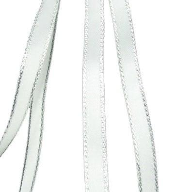 Лента Сатен 6 мм бяла с ламе сребро -5 метра