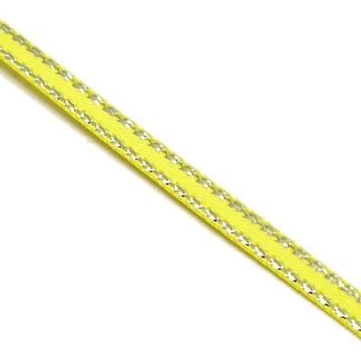 Лента Сатен 6 мм жълта с ламе сребро -5 метра