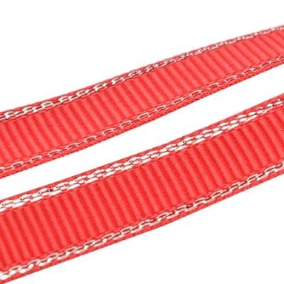 Лента Сатен 9 мм червена рипс с ламе сребро -5 метра