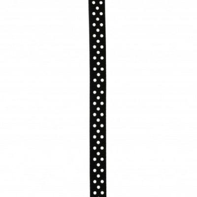 Лента сатен 10 мм рипс точки бели черна -5 метра