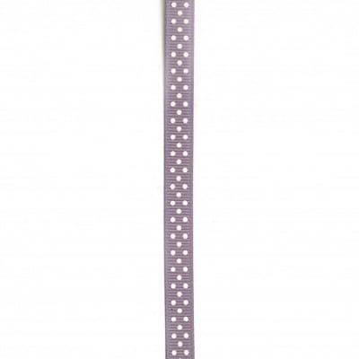 Лента сатен 10 мм рипс точки бели лилава -5 метра