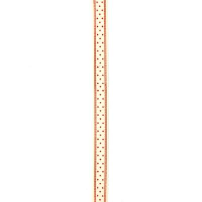 Лента сатен 10 мм рипс звезди червени бяла -5 метра