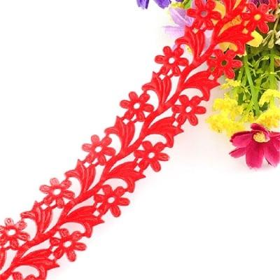 Лента сатен цветя 30 мм червена -2 метра