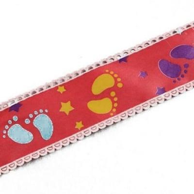 Ширит сатен 38 мм червен с щампа крачета -5 метра