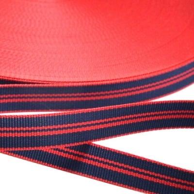 Ширит сатен 12 мм рипс червено и синьо -5 метра