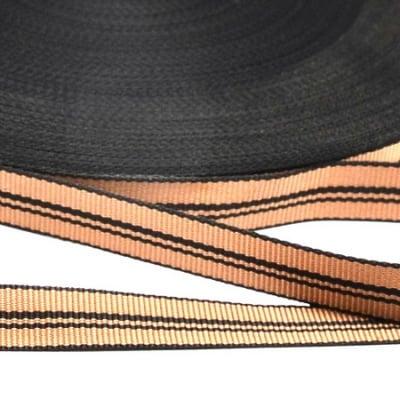 Ширит сатен 12 мм рипс черно и кафяво -5 метра