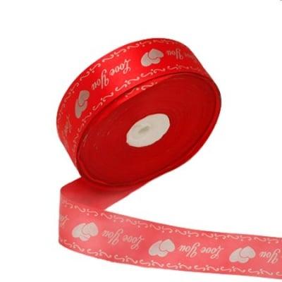 Ширит Сатен 40 мм червен с щампа -5 метър
